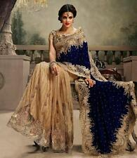 Indian Velvet & Net Wedding Bollywood New Saree/Sari Bridal Party Wear Women