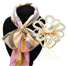 Vintage Buckle Hollow Loop Simulated-pearl Crystal Flower Scarf Clip