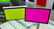 100 BLANK 2.5 x 3.5 Fluorescent Burst Neon Retail Sale Signs Cards 25 Each Color