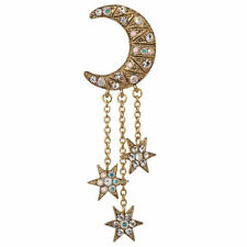 NEW KIRKS FOLLY ECLIPSE CRESCENT MOON STAR PIN  ANTIQUE GOLDTONE