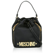 Moschino Couture Jeremy Scott Black Bucket Bag w/ Gold Logo MADE IN HEAVEN LOGO