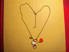 Hello Kitty Heart and Bear Charm Necklace (Red, Black, White, Gold, 2008)