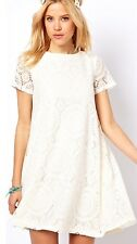New Women's Summer Casual Short Sleeve Lace Evening Party Cocktail Mini Dress