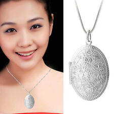 1Pc Women Silver Plated Floral Locket Pendant Snake Chain Necklace Lady Pendants