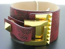 $88 Vince Camuto *Tour Of Duty* Studded Buckle Wrap Red Leather Bracelet 1-5/8""