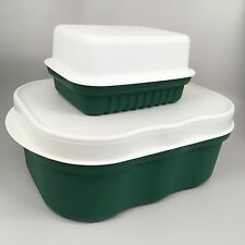 Set Tupperware Large Green Hostess Meat Keepers Containers Marinade 2626A 1520