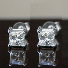 2.10 CT FOREVER ONE MOISSANITE SQUARE FOUR PRONG STUD EARRINGS