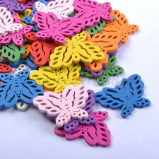 30pcs Mixed Colour WOOD BUTTERFLY Charms Jewelry Making 28MM B190