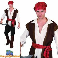 BUCCANEER BROWN CARIBBEAN PIRATE WAISTCOAT - One Size - mens fancy dress costume