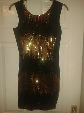 Womens Bodycon Dress - Tulisa TFB Collection - Black With Gold Sequins - BNWT 10