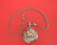 Staffordshire Bull Terrier Pocket Watch Pewter Front Boxed Pet Fathers Day Gift