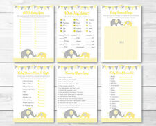 Yellow Chevron Elephant Baby Shower Games Pack - 6 Printable Games