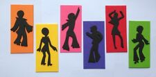 6 edible DISCO DANCING PARTY PEOPLE RETRO cake topper DECORATIONS 70's coloured
