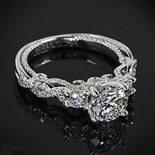 2.50CT Engagement Ring White Round Cut Diamond Three-Stone Ring 10K White Gold