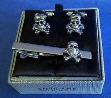TIE BAR OR CLIP & CUFFLINKS SET - SKULL & CROSSBONES - POOLE PIRATES TBC32