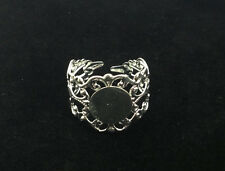 20PCS Silver Plated Adjustable Filigree Ring Blanks 18mm #22807