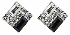 CLIP ON EARRINGS - silver plated with clear crystals & black stone - Becky B