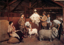 Australian Sheep Shearing Painting George Lambert Country Quality Canvas Print