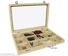 Jewelry Charging Showcase Jewellery box with glass lid 12 Compartments Jute Look
