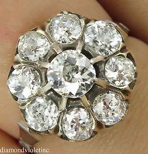 1.92CT ANTIQUE VINTAGE EDWARDIAN DIAMOND CLUSTER ENGAGEMENT WEDDING RING PLAT