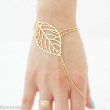 New Fashion Hollow Gold Plated Finish Leaves Ring Bracelet for girl And women.