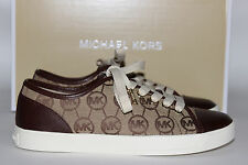 NIB MICHAEL KORS Size 9.5 Women's Mocha MK Monogram Jacquard CITY Tennis Shoe