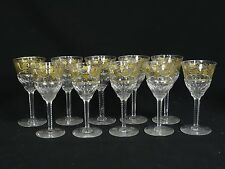 SET 10 VINTAGE 50's VAL St LAMBERT CRYSTAL PAMPRE D'Or GRAPES WINE GLASS 5 5/8""