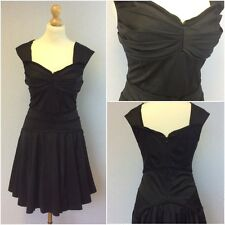 Ted Baker Ladies Black Silky Corset Saloon Girl Fit Flare Dress Size 3 UK 12