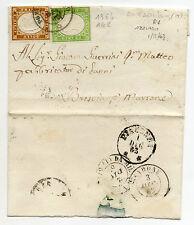 ANTICHI STATI 1863 SARDEGNA 5+10 C. SU LETTERA PONTE DELL'OLIO 1/12 D/2144