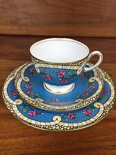 Stunning Aynsley Art Deco Tea Cup Saucer And Plate Trio Set Blue Pink Flowers