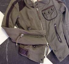 Awesome Womens Diesel Heavyweight Cotton/Leather Trim Jacket UK 8 SUPERB!!!