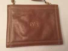 Vintage Valentino Garavani Clutch with Optional Shoulder Strap Camel Small