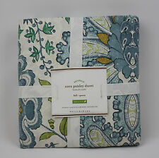 Pottery Barn Cora Paisley Organic Full / Queen Duvet Cover NEW !