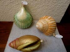NIB Gumps by Mail 3 Lrg Sea Shell Blown Glass Hand Painted Glitter Xmas Ornament