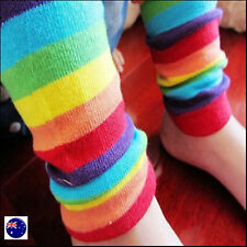 Girls Boy Baby Kids Children Rainbow Colorful Striped knee warm Leg socks gloves