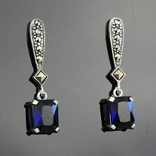 Sterling Silver MARCASITE & SAPPHIRE BLUE Drop Earrings, Art Deco Style
