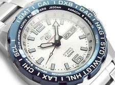 NEW MEN'S WHITE DIAL SEIKO 5 SPORTS 24 JEWEL 4R36 AUTOMATIC GMT SRP687K1