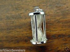 Vintage silver MOVABLE HOURGLASS KISS TIMER LOVE SWEETHEART BRACELET charm #F