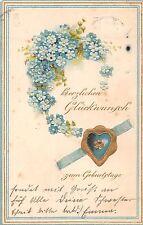 AK Litho. geprägt Glückwunsch zum Geburtstag Herz mit Gold Vergissmeinnicht 1904