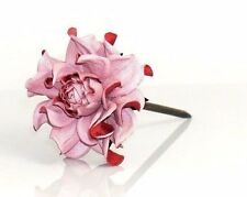 Statement WOODEN floral hair stick, REAL leather soft pink ROSE flower hair fork