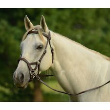 ENGLISH OR WESTERN HORSE BROWN LEATHER BITLESS BRIDLE SIDEPULL & MATCHING REINS