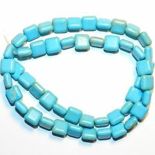 """NG1753fBlue Turquoise 8mm Flat Puffed Square Magnesite Gemstone Beads 15"""""""