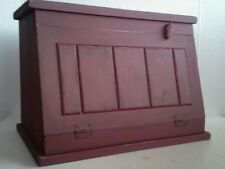 Primitive Country Farmhouse Aged Wood Bread/Biscuit Box Burgundy Distressed