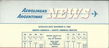Aerolineas Argentinas intercontinental timetable 11/5/69 [6051]