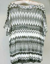 Chico's ZigZag Rayon Knit Tunic Top Sz 2 12 14 Misses Olive Gray S/S