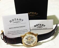 ROTARY GOLD BROWN STRAP SKELETON DIAL WATCH