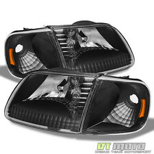 1997-2003 Ford F150 Expedition Black Headlights+Corner Signal Lights Left+Right