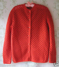 Vtg WW2 40s 50s 60s 70s Red Hand Made Knit Polka Dot Crochet Lace Cardigan O/S