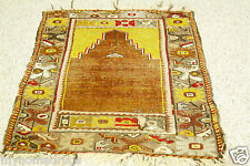 Pre-1900s Antique Kirsehir Turkish Prayer Pile Rug 2'5''x3'10'' Turkey
