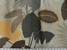 Drapery Upholstery Fabric Cotton Slub Duck Lg Scale Tropical Leaves - Flax